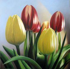 Tulipanes- Oleo sobre lienzo- 1,10 x 1,10 mts