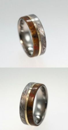 This dinosaur bone and meteorite wedding band is accented by a thin 14k yellow gold pinstripe to give it that sophisticated look. The…