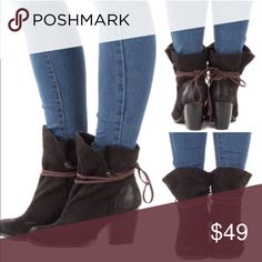 """Black Slouchy Tie Wrap Booties Worn one time.  Super cute!!!  Lots of compliments on them.  Runs true to size.  The heel is 3.5"""".   Price firm unless bundled.  All bundles are negotiable.  😃 Shoes Ankle Boots & Booties"""