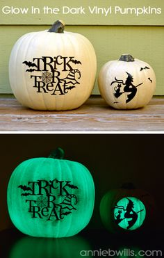Glow in the Dark Vinyl Pumpkins by Annie Williams - made using my Silhouette CAMEO #silhouettedesignteam