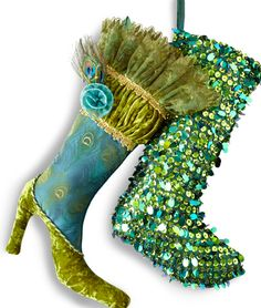 Pier 1 Peacock Boot and Emerald Sequin Stocking