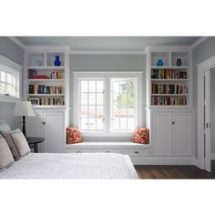 Bedroom Window Seat- Traditional - bedroom - Benjamin Moore Arctic... ❤ liked on Polyvore featuring bedrooms, rooms, house, home and backgrounds