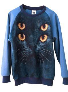 Marine Blue Psycho Kitten Cat Sweatshirt – IDILVICE