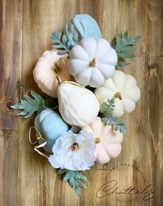 Assorted pumpkins, mix & match neutral fall decor, assortment of pumpkins for centerpiece, elegant autumn decor. Mint, peach, white and gold