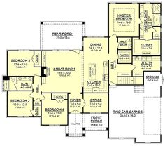 Country Craftsman Traditional Level One of Plan 56924