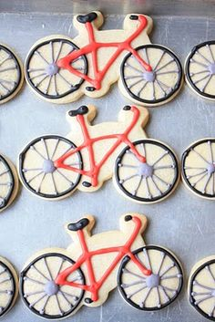 A young boy I know asked if I would contribute some cookies to his Bicycle Safety Fair. Fancy Cookies, Iced Cookies, Cute Cookies, Cookies Et Biscuits, Cupcake Cookies, Sugar Cookies, Cupcakes, Bicycle Party, Carla Brown