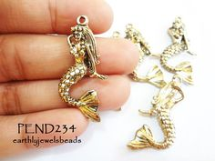 3 pcs Antique Gold Mermaid Charm PEND234 by EarthlyJewels on Etsy, $2.80