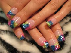 Break with the traditional patterns of French nails. Instead try your hand at these cheerful and cutting edge colorful French nail art desig. Summer Nail Polish, Summer Nails, French Nails, Cute Nail Art, Cute Nails, Pretty Nails, Acrylic Nail Designs, Nail Art Designs, Colorful Nail Art
