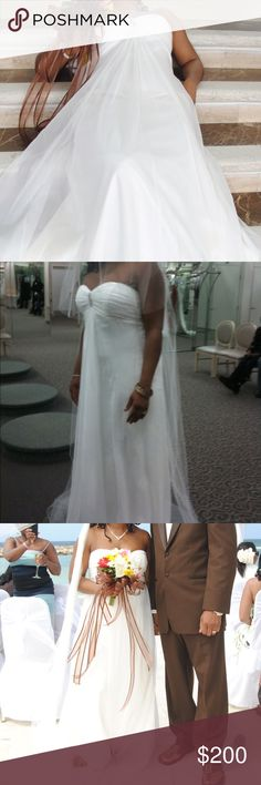 EUC Strapless Chiffon Aline Wedding Dress, 16 Excellent used condition. Worn once. Dry cleaned & ready to go for the next stunning & frugal bride. Runs large. States 16 but would fit a 12. 17' waist laying flat. Slight higher hemline in the front. 100% polyester. Light & airy material was absolutely perfect for my destination beach wedding in Jamaica 🇯🇲! Simple but elegant! Long strapless chiffon a-line dress w/ a sweetheart neckline & a dazzling brooch on a ruched bodice. Fully lined…