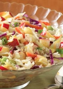 Apple Slaw with Honey Mustard Vinaigrette... 10 minutes, 1 step and 94 calories, what a no brainer! This refreshing apple slaw is an amazing yet simple vegetarian recipe for the summer.