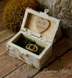 Personalized Wedding Ring Bearer Pillow Box Ring Bearer Box Birch Bark Rustic Wedding