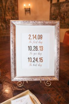 """The first day...the yes day...the best day"" wedding sign in gold frame to display at welcome table 