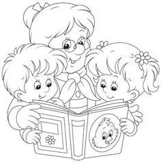 Illustration of Grandma and grandchildren reading vector art, clipart and stock vectors. Colouring Pages, Coloring Pages For Kids, Adult Coloring, Coloring Books, Preschool Charts, Grandparents Day Crafts, Welcome To School, Coloring Pages Inspirational, Doodle Designs