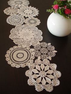 Wedding table decoration. Vintage Doily Runner
