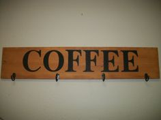 Coffee large wood sign  Coffe mug Display Stained by SignReads