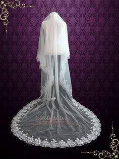 Cathedral Length Floral Lace Mantilla Wedding Veil with Soft Tulle | V | Ieie's Bridal Wedding Dress Boutique