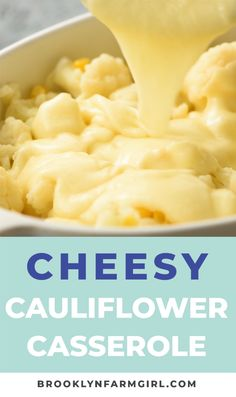 BAKED Cheddar Cheese Cauliflower Casserole recipe! This Loaded Cauliflower Cheese Bake is vegetarian and easy to make. This low carb, keto casserole can be either a side dish or a main dish!   #cauliflower #casserole #easyrecipe #dinner #lowcarb #ketorecipe