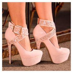 Pink mega high heels ankle straps pumps