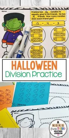 This division activity is a fun and engaging way to learn and practice division as well as help in the conceptual development of division skills. Halloween Division, Division Activities, Math Fact Practice, Math Facts, Center Ideas, Elementary Math, Word Problems, Math Resources, Math Centers