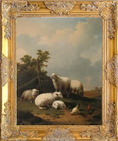 Fab Sheep Landscape Art Print, Framed in Ornate Frame, Print on Canvas Rabbit Pictures, Painting Prints, Art Prints, Framed Prints, Canvas Prints, Old Master, Animal Paintings, Landscape Art, Art Pieces