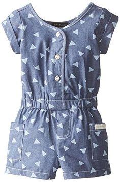 Romper Calvin Klein Baby Girls' Printed Blue Denim Romper With Pockets
