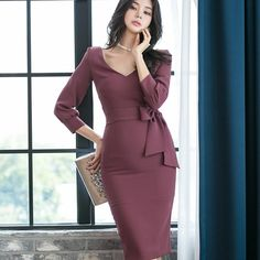 Office Outfits Women, Stylish Work Outfits, Casual Dress Outfits, Classy Outfits, Elegant Dresses For Women, Simple Dresses, Mode Ulzzang, Red Long Sleeve Dress, Cheap Dresses Online