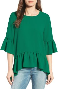 Flirty, flouncy ruffles are the main attraction of this simple, easy-fitting top.