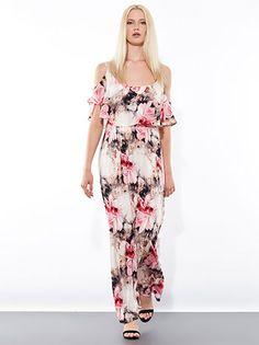 0639a05f859b Floral maxi φόρεμα από βισκόζη με ανοιχτούς ώμους και βολάν στο ντεκολτέ