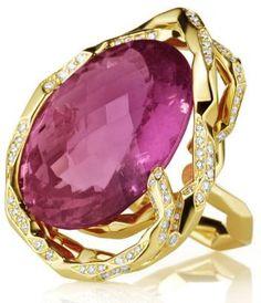 Mimi So Couture Pink Tourmaline Ring. Custom Pink Tourmaline and Pave Diamonds (.79ct) in 18 Karat Yellow Gold.