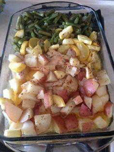 Snappy Chicken 4 chicken breast ,1.5 pounds of cubed red potatoes Fresh or frozen green beans, about 14 oz 1 pkt of Italian dressing seasoning 1 stick of butter, cubed How to make; Lay chicken down the middle of a 9×13 baking dish. Lay potatoes and green beans along side of the chicken. Season with salt and pepper (optional). Sprinkle Italian seasoning over everything and top with cubes of butter. Cover with foil and bake at 350 for 1 hour. *You can take out the butter and use chicken stock*