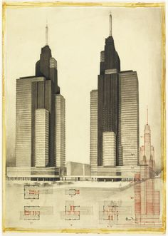 Hugh Ferriss, architectural drawing of two skyscrapers with additional Elevation and Plan Views, 1932. USA. Cooper Hewitt.