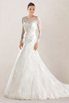 Bateau Mermaid Wedding Gown in Beaded Lace with Illusion Panel and Court Train