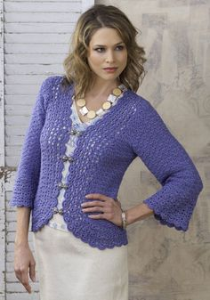 Sundra jacket - don't like the complete outfit, but the pattern for the jacket is lovely. Need to find another solution for the clasps on the front as well...  Free crochet pattern