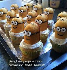 Minion cupcakes. Love the idea don't like twinkies though....