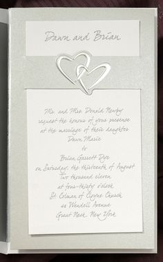 Two romantic joined hearts on this silver stardream backer offset the formal bright white card featuring your names at top. Simply slide your invitation into place. Heart Wedding Invitations, Photo Cards, Holiday Cards, Hearts, Place Card Holders, Names, Romantic, Bright, Formal