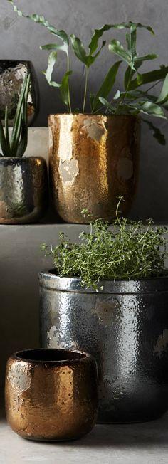 Metallic Crackle Herb Pots