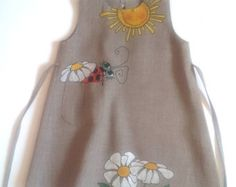 Girls wite linen dress painted dress Hand by InGAartWork on Etsy
