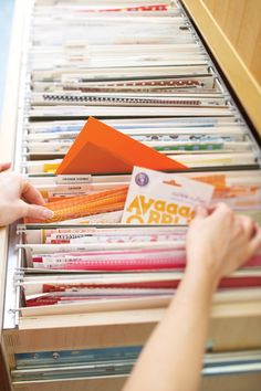 Using a horizontal file cabinet to store scrapbooking supplies. From Creating Keepsakes magazine.