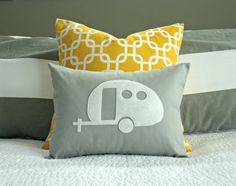 Yellow and Grey Vintage Airstream Camper Silhouette Pillow Cover  by nest2impress,