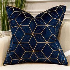 Avigers 20 x 20 Inches Navy Blue Gold Plaid Cushion Cases Luxury European Throw . : Avigers 20 x 20 Inches Navy Blue Gold Plaid Cushion Cases Luxury European Throw Pillow Covers Decorative Pillows for Couch Living Room Bedroom Car Blue And Gold Living Room, Blue Living Room Decor, Bedroom Decor, Blue Home Decor, Striped Cushions, Velvet Cushions, Navy Blue Cushions, Navy Blue Throw Pillows, Navy Blue Couches