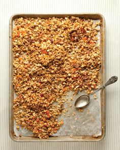 Crunchy Chewy Granola from themom100.com.  Make a big batch of this at the beginning of the week, have amazing breakfasts all week long (not to mention snacking by the handful, sprinkling over yogurt for an ofter school treat...).