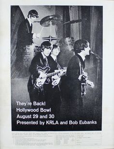 Beatles memorabilia: The Beatles Hollywood Bowl poster. Beatles memorabilia: The Beatles Hollywood Bowl poster. A poster advertising the performance of The Beatles at the Hollywood Bowl on August 29th and 30th 1965 presented by KRLA and Bob Eubanks with ticket information listed beneath, framed. 23.5 in (59.7 cm) x 19 in (48.3 cm)