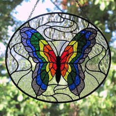 Rainbow Butterfly | ... Glass Art: Stained Glass Rainbow Butterfly~~new and improved version
