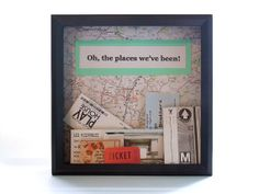 Travel Theme Shadow Box Ticket Holder - Ticket Box - Drop Top Shadow Box - Map Frame - Ticket Display - Can Be Customized - Memory Frame