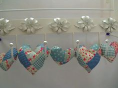 decorative fabric hanging heart garland faux by FingerPrickingGood