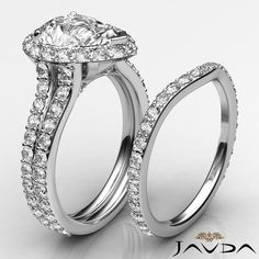 Pear Diamond Bridal Set Halo Pave Engagement Ring GIA G SI1 14k White Gold 2.8ct