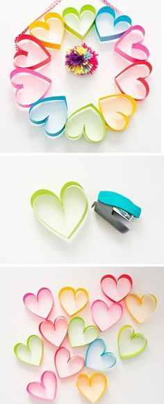 Paper Heart Rainbow Wreath | Easy Mothers Day Crafts for Kids to Make