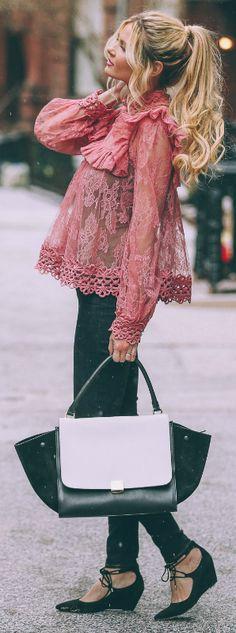 Amber Fillerup Clark + pink lace + blouse from Zimmermann + black jeans + stylish asymmetrical monochrome bag  Blouse: Zimmermann, Jeans: J Brand, Shoes: Shopbop, Bag: Celine via Fashionphile.