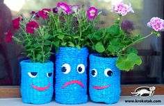 plastic bag flowerpots