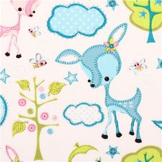 white deer animal fabric Camelot Dream a Little Dream - Animal Fabric - Fabric - kawaii shop modeS4u